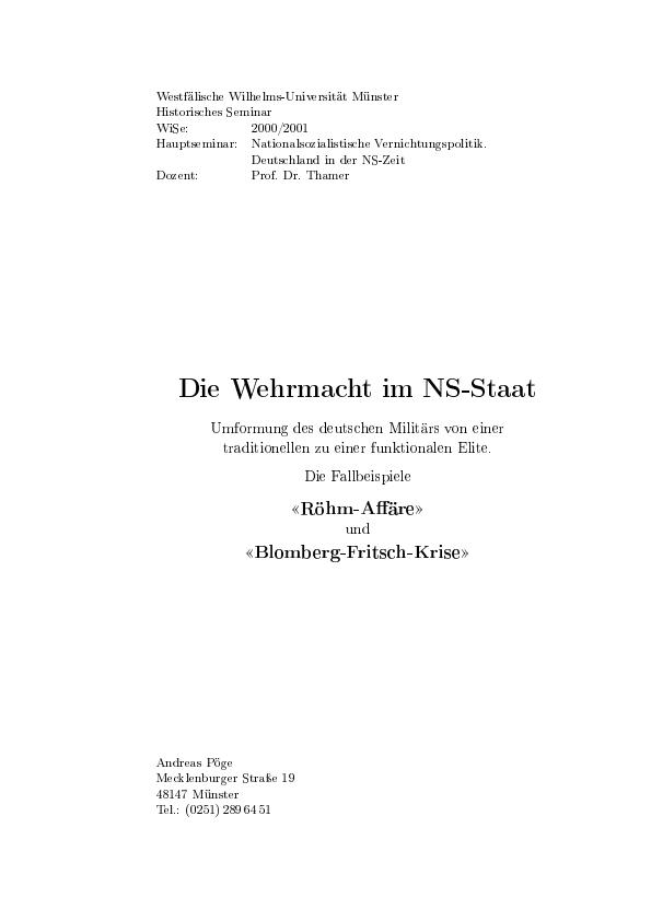 Titel: Die Wehrmacht im NS-Staat