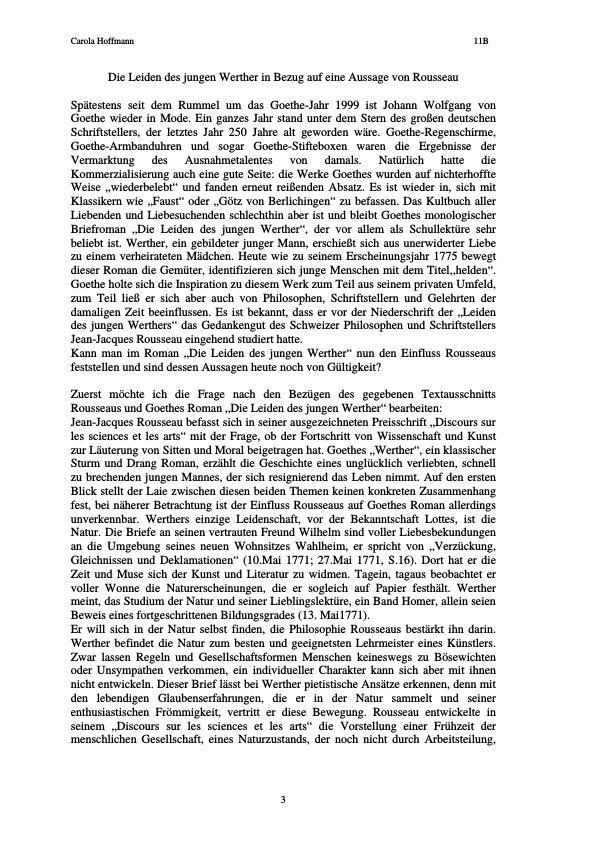 Titel: Goethe, Johann Wolfgang von - Die Leiden des jungen Werther in Bezug auf eine Aussage von Rousseau