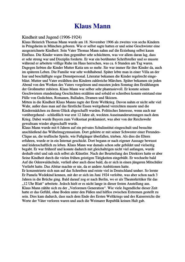 Titel: Klaus Mann. Eine Kurzbiographie