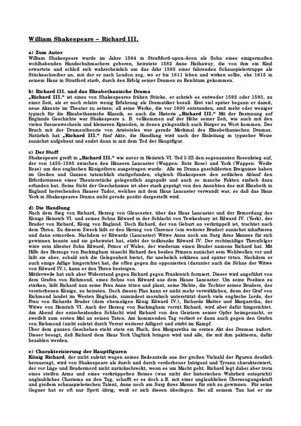 Titel: Shakespeare, William - Richard III. - Inhalt und Analyse