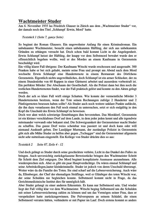 Titel: Glauser, Friedrich - Wachtmeister Studer