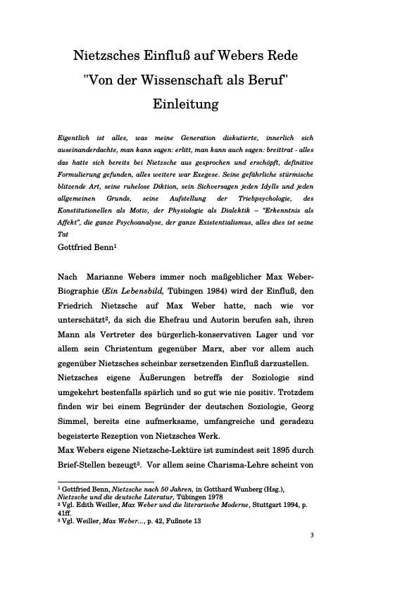 """Titel: Nietzsches Einfluß auf Webers Rede """"Von der Wissenschaft als Beruf"""""""