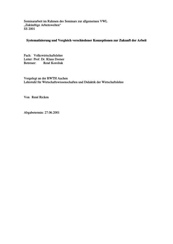Titel: Zukünftige Arbeitswelten - Konzeptvergleich
