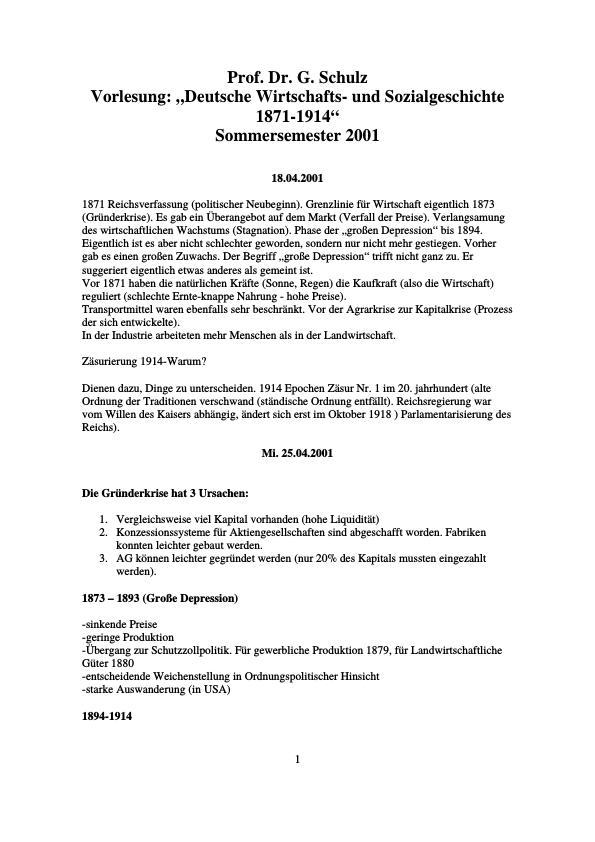 Titel: Deutsche Wirtschafts und Sozialgeschichte 1871-1914