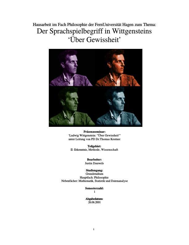 Titel: Der Sprachspielbegriff in Wittgensteins `Ueber Gewissheit`