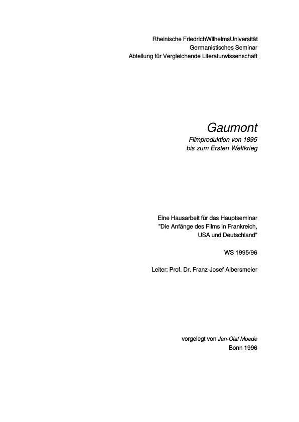 Titel: Gaumont. Filmproduktion von 1895 bis zum Ersten Weltkrieg