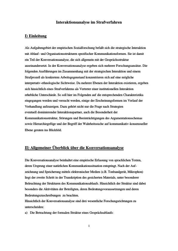 Titel: Interaktionsanalyse im Strafverfahren