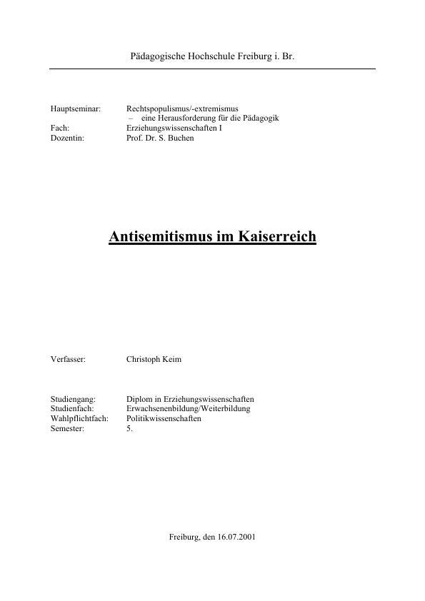 Titel: Antisemitismus im Kaiserreich