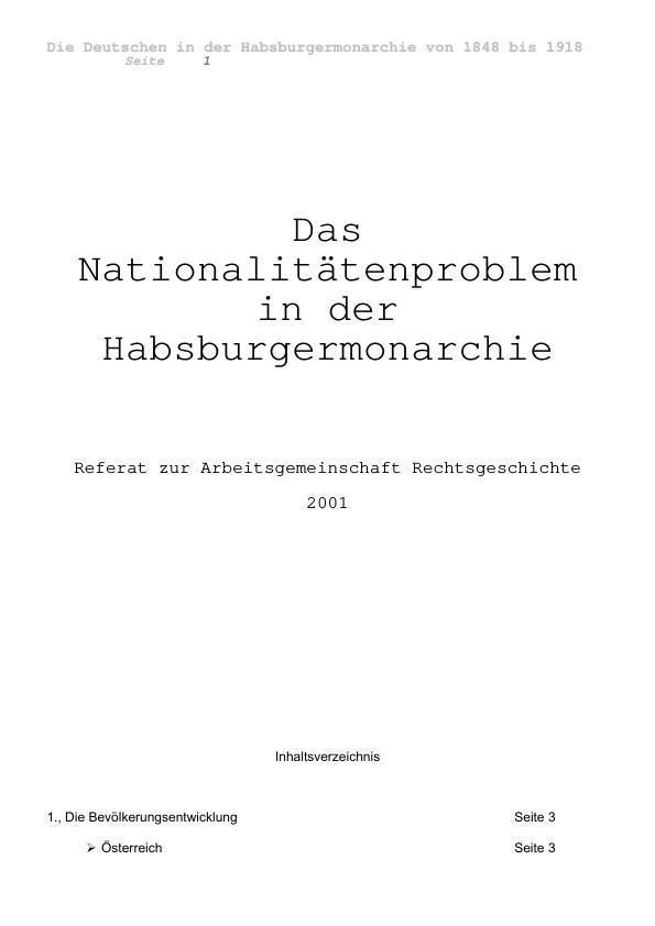 Titel: Die Deutschen im Nationalitätenstreit in der Habsburgermonarchie 1848 bis 1918