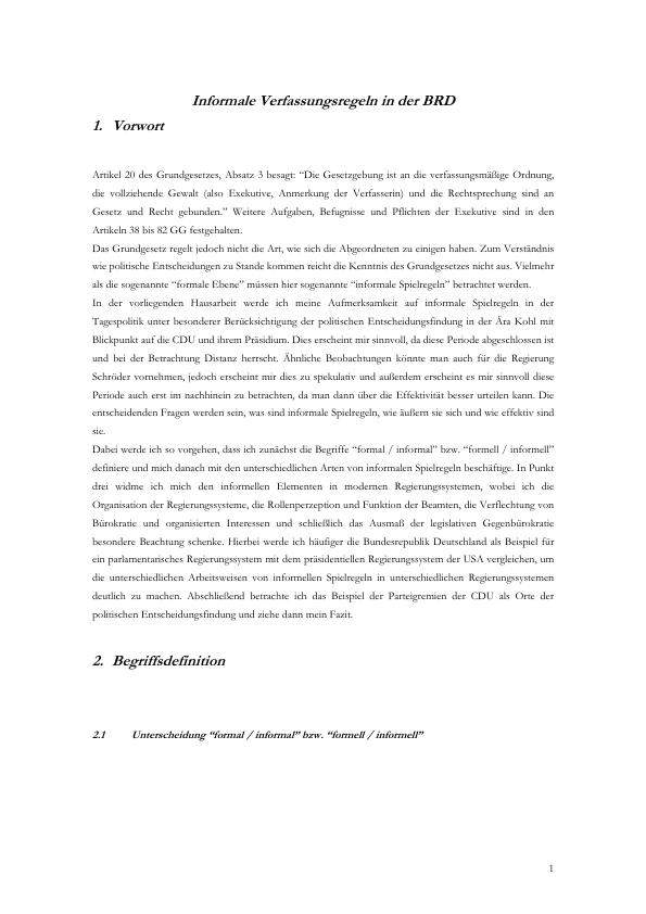 Titel: Informale Verfassungsregeln in der BRD