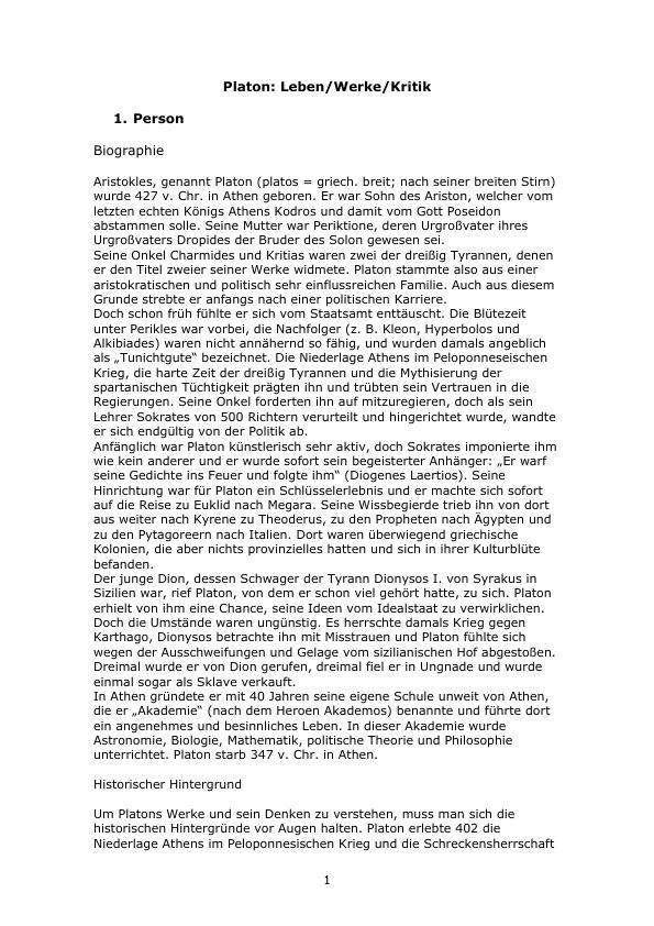 Titel: Platon: Leben - Werke - Kritik