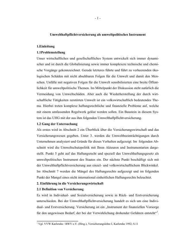 Titel: Umwelthaftpflichtversicherung als umweltpolitisches Instrument