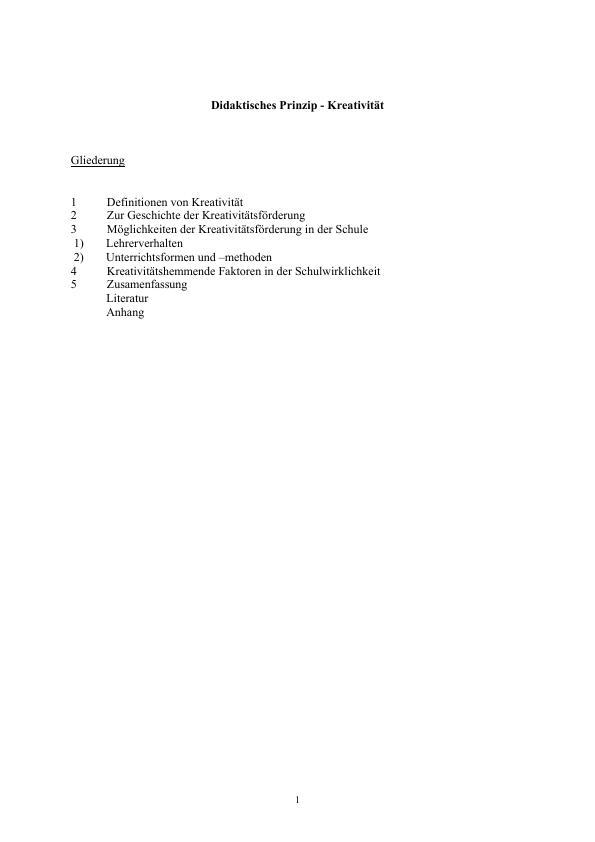 Titel: Didaktisches Prinzip - Kreativität