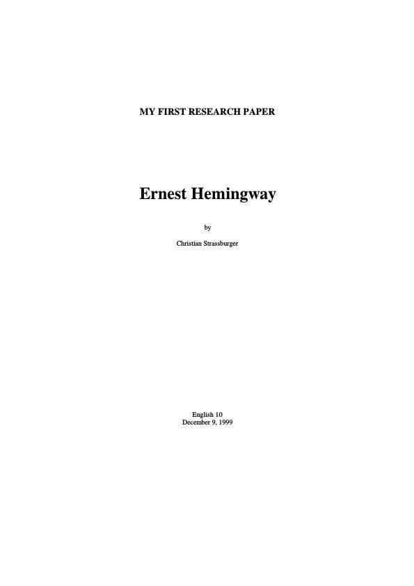 Title: Ernest Hemingway