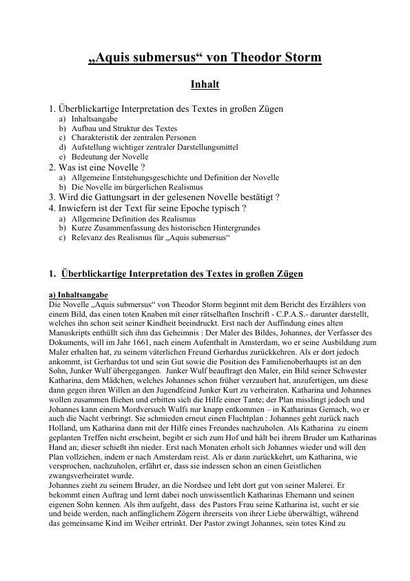 Storm Theodor Aquis Submersus Interpretation Der Novelle Mit