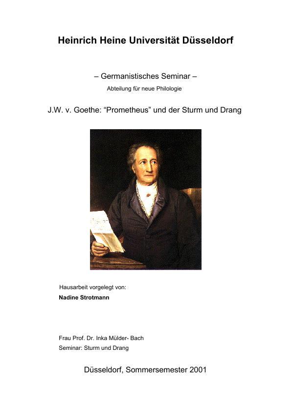 Titel: Goethes Prometheus und der Sturm und Drang