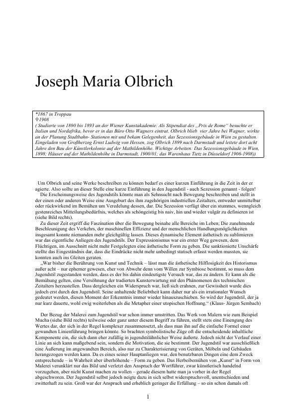 Titel: Joseph Maria Olbrich (hauptsächlich zur Zeit in Darmstadt)