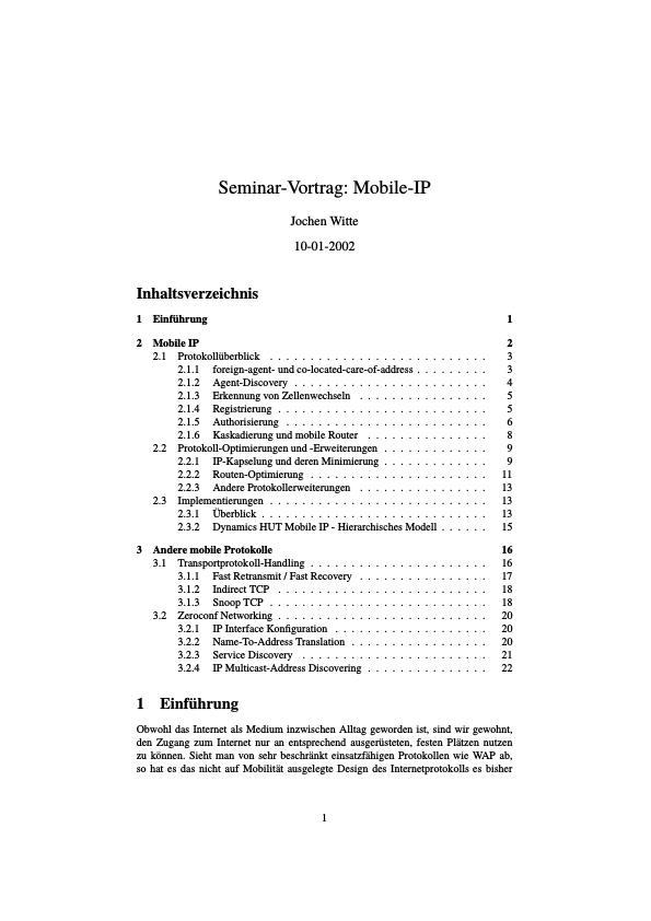 Titel: Mobile IP und andere mobile Protokolle