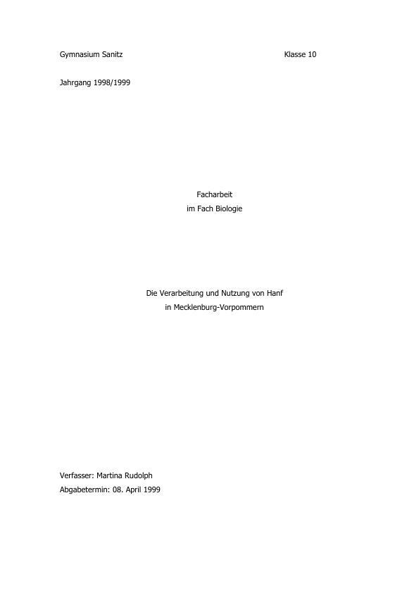 Titel: Hanf - Die Verarbeitung und Nutzung von Hanf in Mecklenburg-Vorpommern