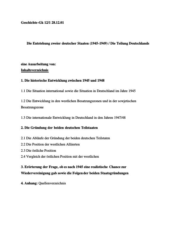 Titel: Die Entstehung zweier deutscher Staaten (1945-1949) / Die Teilung Deutschlands