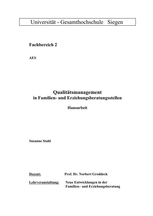 Titel: Qualitätsmanagement in Familie- und Erziehungsberatungsstellen