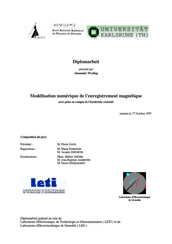 Titel: Modélisation numérique de l`enregistrement magnétique avec prise en compte de l`hystérésis vectoriel