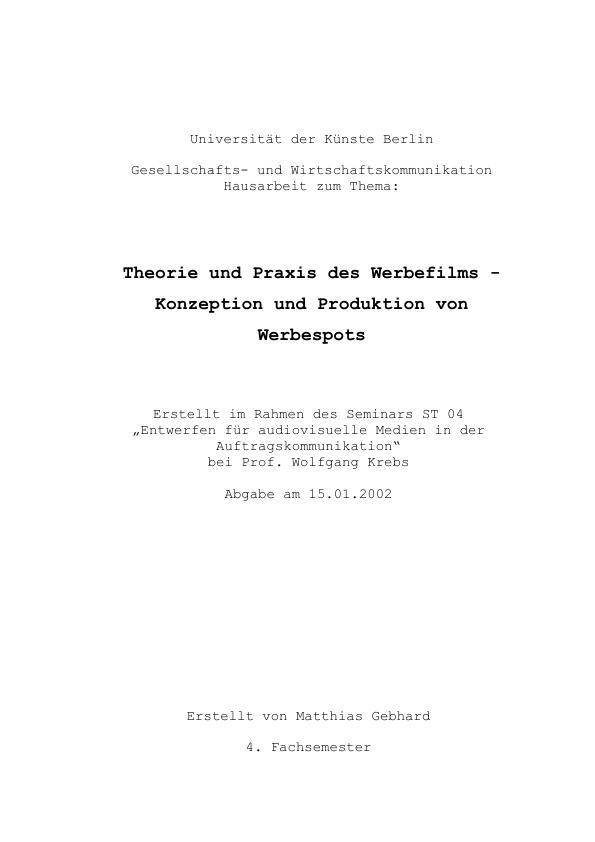 Theorie Und Praxis Des Werbefilms Zur Konzeption Und Produktion