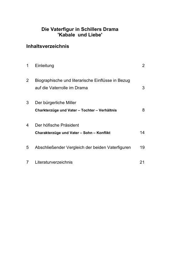 Titel: Schiller, Friedrich von - Kabale und Liebe - Die Vaterfigur im Drama