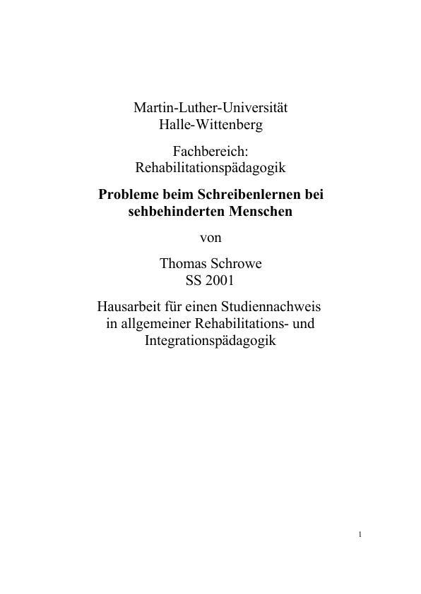 Titel: Probleme beim Schreibenlernen sehbehinderter Menschen