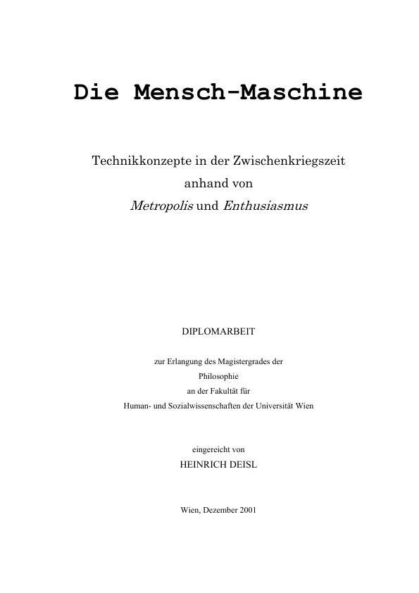 Die Mensch Maschine Technikkonzepte In Der Zwischenkriegszeit