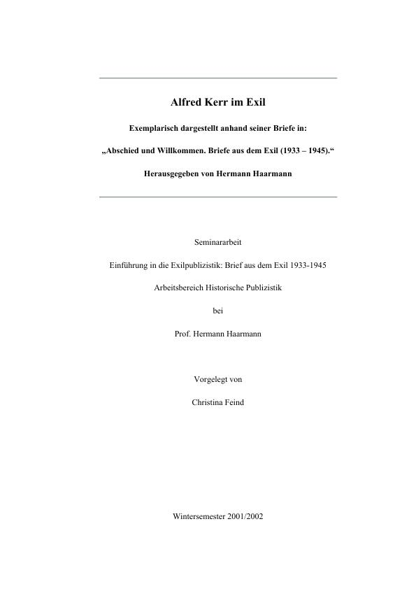 Titel: Alfred Kerr im Exil