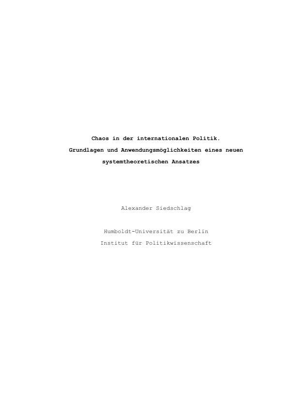 Titel: Chaos in der internatinoalen Politik