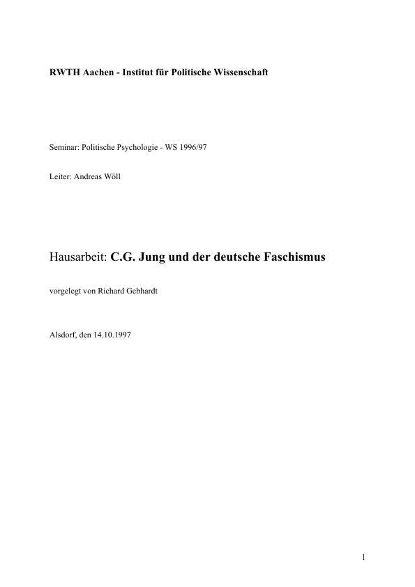 Titel: C.G. Jung und der deutsche Faschismus