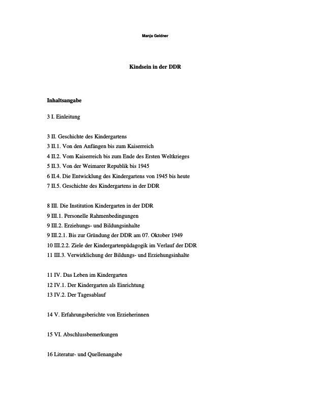 Titel: Kindsein in der DDR