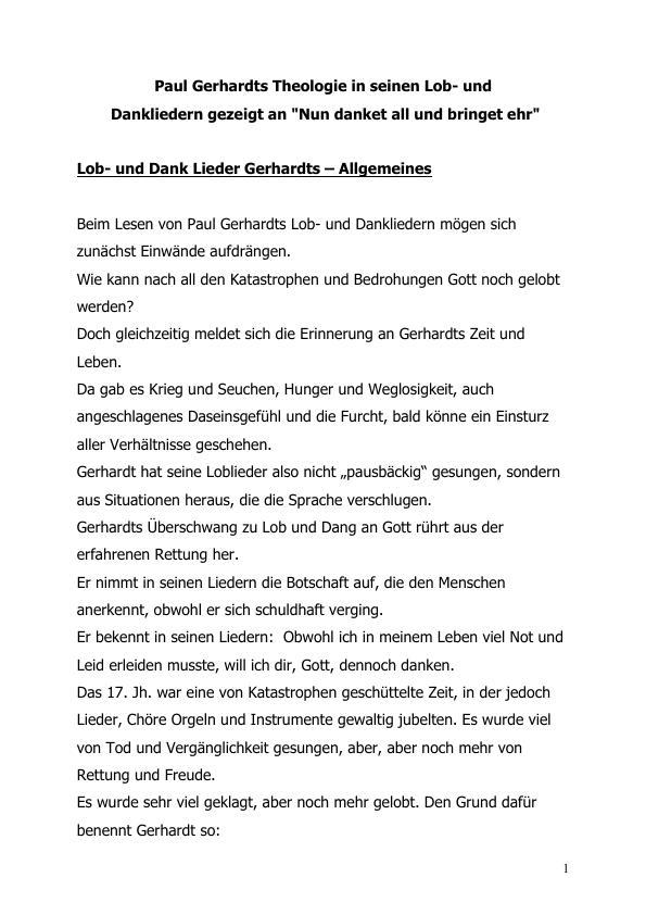 Titel: Paul Gerhardts Theologie in seinen Lob- und Dankliedern gezeigt an -Nun danket all und bringet ehr-