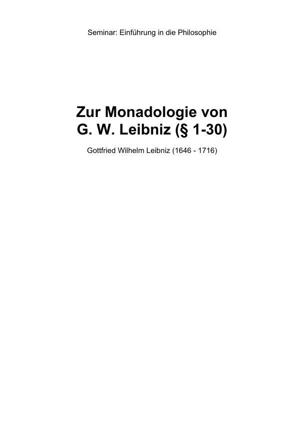 Titel: Zur Monadologie von Leibniz (§ 1-30)