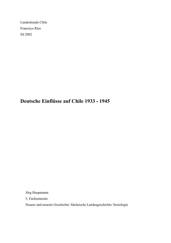 Titel: Deutsche Einflüsse in Chile 1933-1945