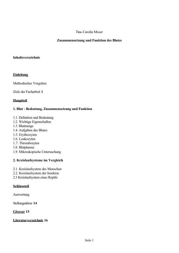 Blut - Zusammensetzung und Funktion | Masterarbeit, Hausarbeit ...
