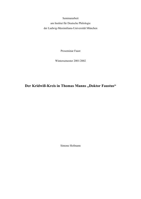 Titel: Der Kridwiß-Kreis in Thomas Manns Doktor Faustus