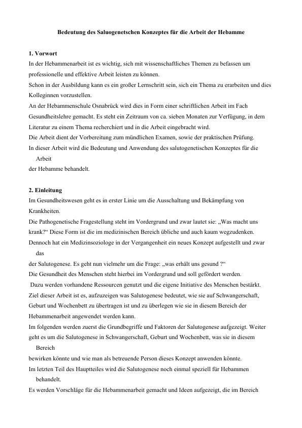 Titel: Bedeutung des Saluogenetschen Konzeptes für die Arbeit der Hebamme