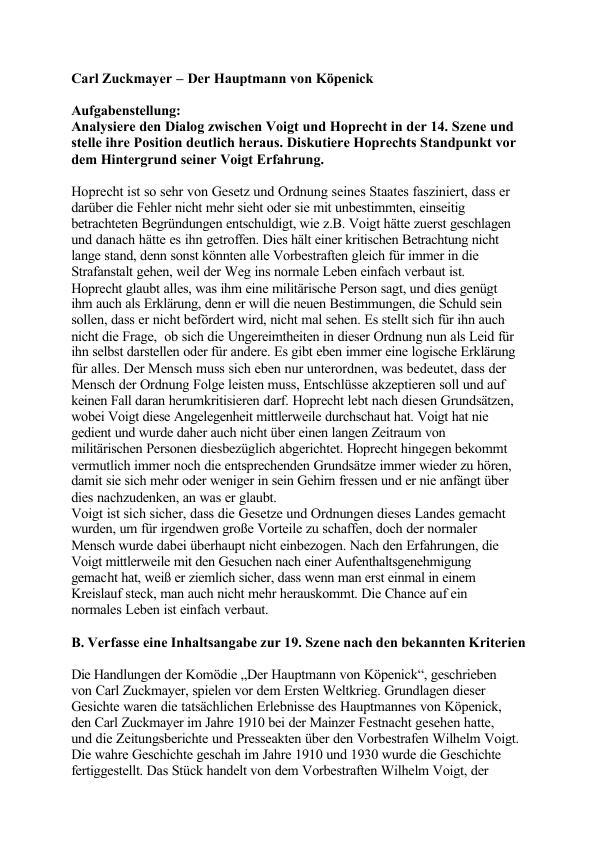 Zuckmayer Carl Der Hauptmann Von Köpenick Hausarbeiten Publizieren