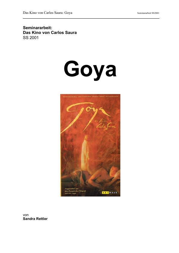 Titel: Das Kino von Carlos Saura: Goya