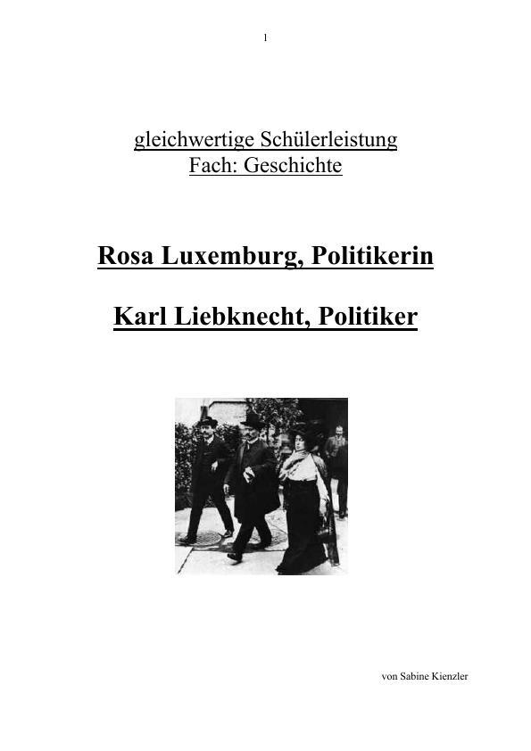 Titel: Rosa Luxemburg und Karl Liebknecht