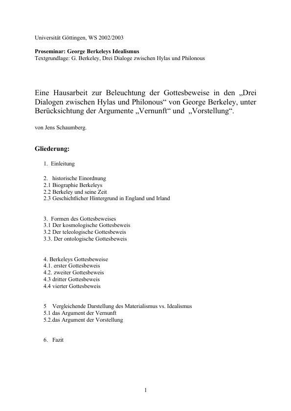 Titel: Eine Hausarbeit zur Beleuchtung der Gottesbeweise in den *Drei Dialogen zwischen Hylas und Philonous* von George Berkeley, unter Berücksichtung der Argumente Vernunft und  Vorstellung