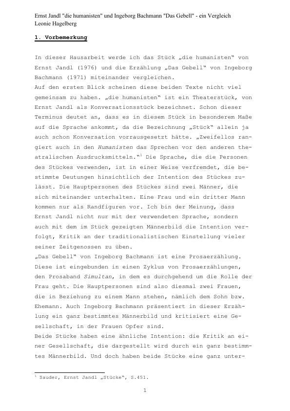 """Titel: Ernst Jandl """"die humanisten"""" und Ingeborg Bachmann """"Das Gebell"""" - ein Vergleich"""