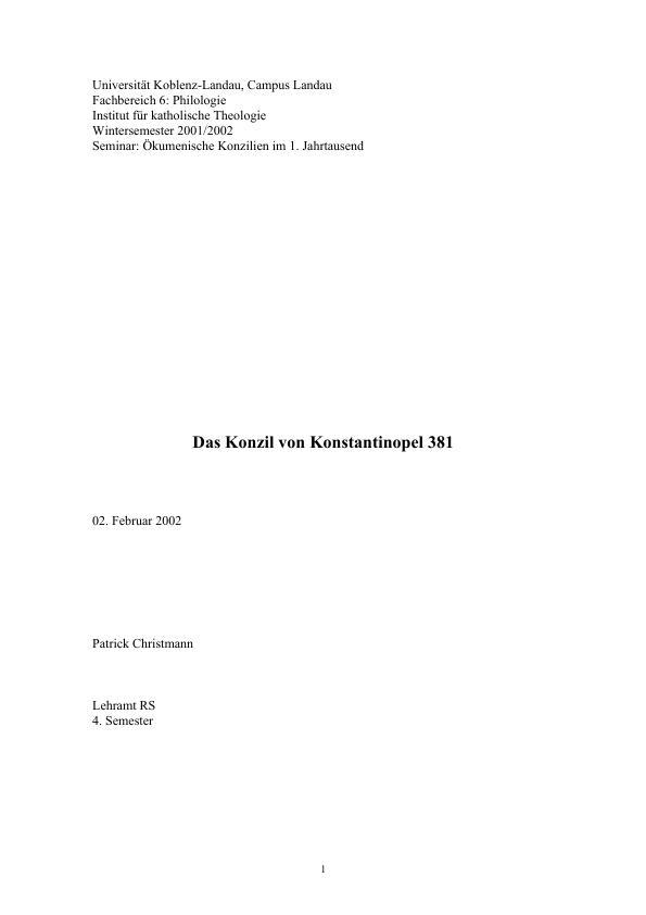 Titel: Das Konzil von Konstantinopel 381