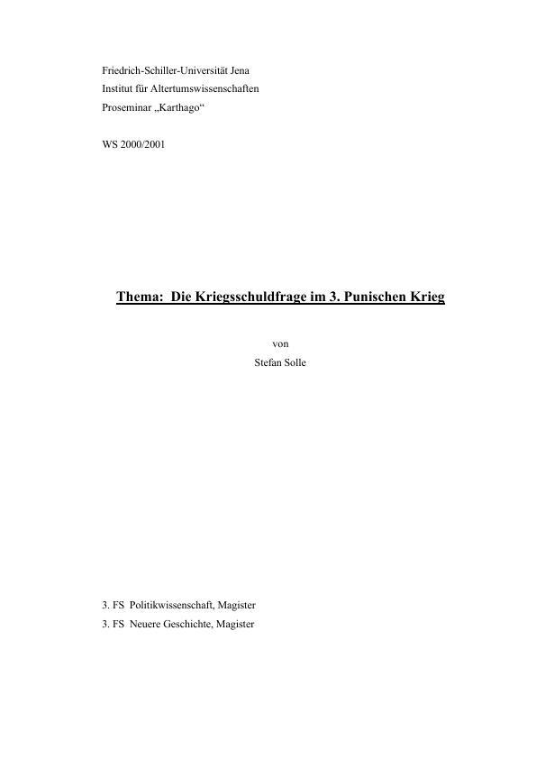 Titel: Die Kriegsschuldfrage im 3. Punischen Krieg