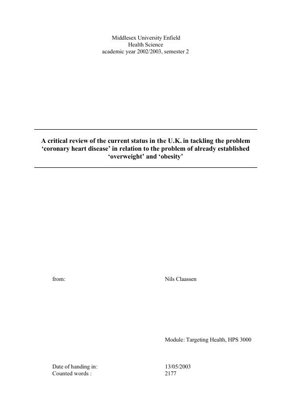 Title: Status in the U.K. in tackling CHD in relation to Overweight and Obesity