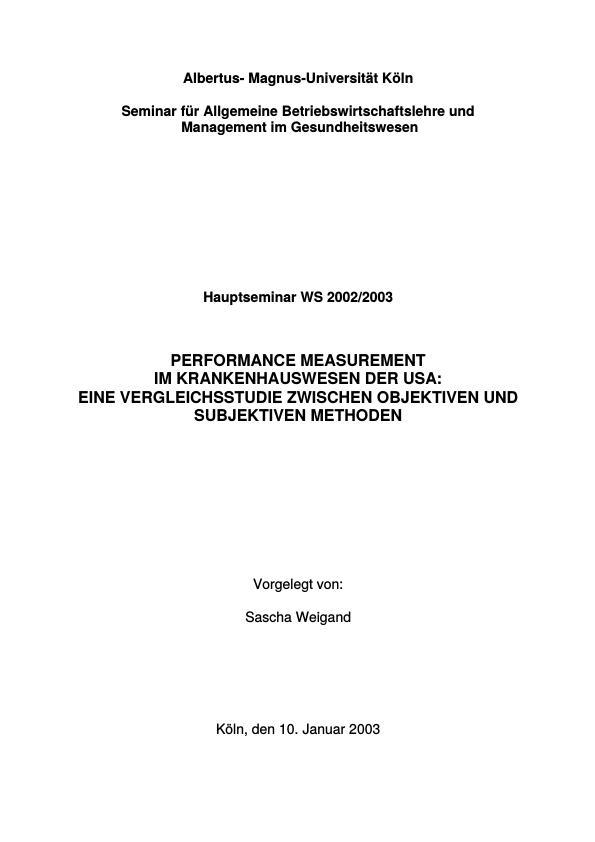 Titel: Performance Measurement im Krankenhauswesen der USA