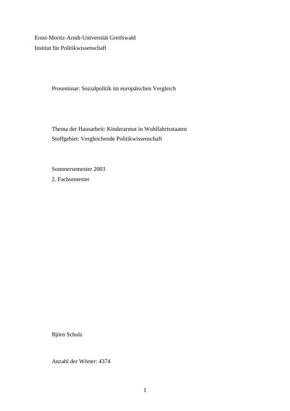 Titel: Kinderarmut in Wohlfahrtsstaaten